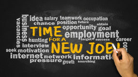 Time for a new job with related word cloud handwritten on blackb Royalty Free Stock Photos