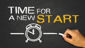 Time for a new start. On blackboard Royalty Free Stock Image