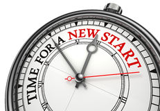 Time for a new start. Concept clock closeup on white background with red and black words Stock Photo