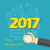 2017 time for new start. Flat modern design concept of business start up, strategy, planning on the 2017. Image for cover of the desk calendar with stopwatch in Vector Illustration