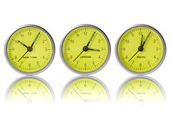 Time in New York, London and Tokyo. Three watches on white background Stock Photo