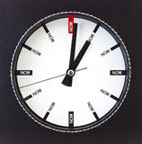Time is Now - Clock. White clock with words Now on its face Royalty Free Stock Image