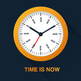 Time is now concept. Watch symbol illustration on dark background. Time management Royalty Free Stock Images