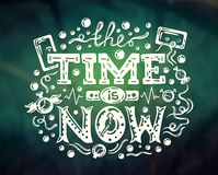Time Is Now - modern lettering on abstract background. Vector modern flat design hipster illustration with phrase Time Is Now - abstract background Royalty Free Stock Image