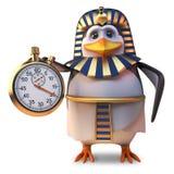 Time obsessed penguin pharaoh Tutankhamun using a stopwatch, 3d illustration. Render stock illustration