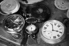Time. Old Pocket watches in monochrome photo technique Royalty Free Stock Photo