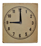 Time on old wall clock nine pm. Isolated Royalty Free Stock Photo