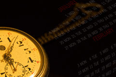 The time. Old watch with calendar on black background Stock Image