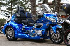 Blue tricycle Honda 1800 Gold Wing in nature. Right side, general view royalty free stock photography