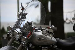 Motorcycle Yamaha XV 1700 Road Star Silverado outdoor on a cloudy day. Close-up royalty free stock images
