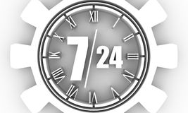 Timing badge symbol 7 and 24. Time operation mode in gear. For customer support and retail. Seven days twenty four hour. 3D rendering Stock Images