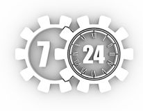 Timing badge symbol 7 and 24. Time operation mode in gear. For customer support and retail. Seven days twenty four hour. 3D rendering Royalty Free Stock Photos