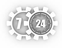 Timing badge symbol 7 and 24 Royalty Free Stock Photos