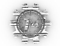 Timing badge symbol 7 and 24. Time operation mode in gear. For customer support and retail. Seven days twenty four hour. Distress grunge texture. 3D rendering Royalty Free Stock Photo