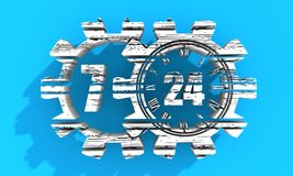 Timing badge symbol 7 and 24. Time operation mode in gear. For customer support and retail. Seven days twenty four hour. Distress grunge texture. 3D rendering Stock Photo