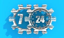 Timing badge symbol 7 and 24 Stock Photo