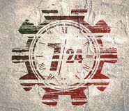 Timing symbol 7 and 24. Time operation mode in gear. For customer support and retail. Seven days twenty four hour. Grunge texture stock photos