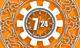 Timing badge symbol 7 and 24. Time operation mode in gear decorated by circular ornament. For customer support and retail. Seven days twenty four hour. 3D Royalty Free Stock Photography