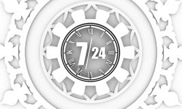 Timing badge symbol 7 and 24. Time operation mode in gear decorated by circular ornament. For customer support and retail. Seven days twenty four hour. 3D Stock Images