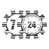 Timing symbol 7 and 24. Time operation mode in gear. Infinity arrow icon. For customer support and retail. Seven days twenty four hour Royalty Free Stock Image