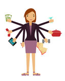 Time organization. Business woman doing several things at once Stock Photo