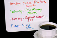 schedule with cup of coffee Royalty Free Stock Photo