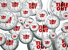 Time Out Break Pause Intermission Flying Clocks Words Royalty Free Stock Photography