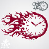 Time is out concept, vector clock with burning fire Stock Photography