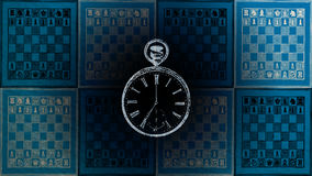 Time-out game. Illustration of clock and chessboard Royalty Free Stock Images