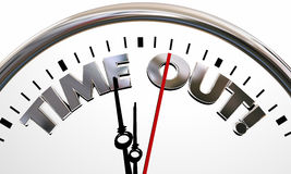 Time Out Pause Break Intermission Rest Clock Words Royalty Free Stock Photos