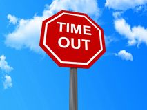 Time out sign. Red traffic sign bearing text in upper case letters ' TIME OUT ' with blue sky background Stock Image
