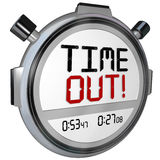 Time Out Words Break Pause Stopwatch Timer Game Intermission. Time Out words on a stopwatch or timer to pause for a break or intermission in a game or Stock Photography