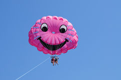 It Is time for parasailing. Two people up in the air para sailing Stock Photography