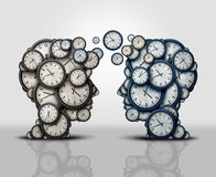 Time Partnership. And coordination of business scheduling meeting as two groups 3D illustration clock objects shaped as a human head communicating and Royalty Free Stock Image