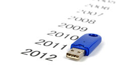 Time passing. A USB disk on a paper written years stock images