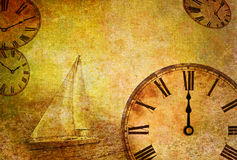Time passing, abstract vintage motive. Illustration of time and space, twelve o'clock Stock Images
