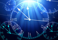 Time Passing concept. Time fly in blue Royalty Free Stock Images