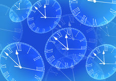 Time Passing concept. Time fly in blue Royalty Free Stock Photo