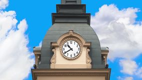 Time passing, historical clock running with movement of clouds. stock video footage