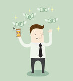 Time for passive income. Vector illustration business and education idea cartoon Royalty Free Stock Images