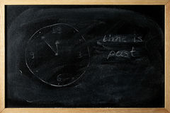 Time is past is written on a blackboard Royalty Free Stock Photo