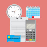 Time pay tax. Payment tax with machine terminal. Vector illustration Stock Photos