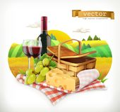 Time for a picnic, tablecloth and picnic basket, wine glasses, cheese and grapes, vector illustratio Royalty Free Stock Photo