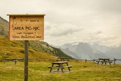 Time for picnic in Passo di Foscagno in Italy Stock Photography