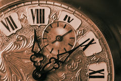 Time Piece. Close up of old pocket watch time piece toned sepia stock photography