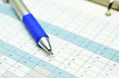 Time planner with pen Stock Photo