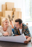 Time for planning their new house. Stock Images