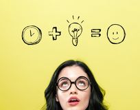 Time plus idea equals happy with young woman. Wearing eye glasses royalty free stock photography