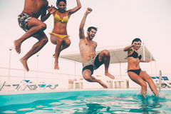 Time for pool fun. Stock Photos