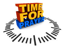 Time for prayer. Time to pray, text on clock dial, concept of faith, religion and prayer vector illustration